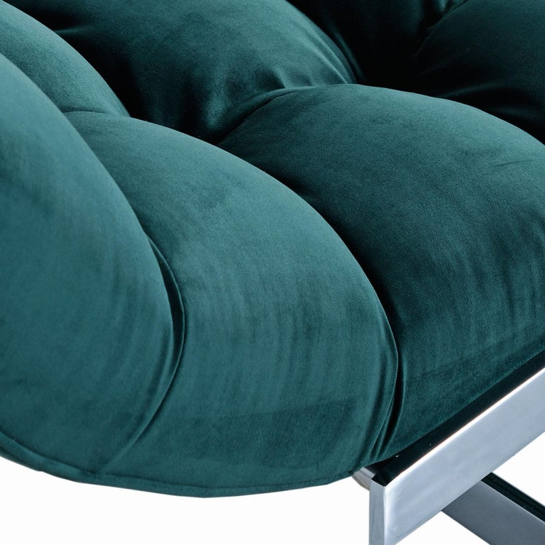 New Forest Green Velvet Milo Baughman Style Wave Chaise Lounge by Carsons 6