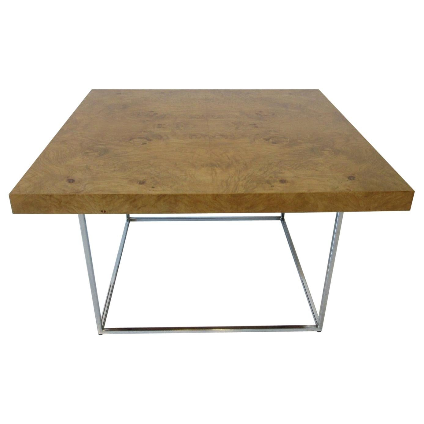 Milo Baughman Styled Burl Coffee Table