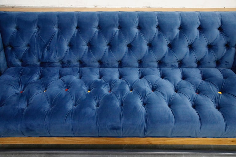 Milo Baughman Styled Custom Wood Case Sofa with Tufted Velvet on Steel Frame  For Sale 4