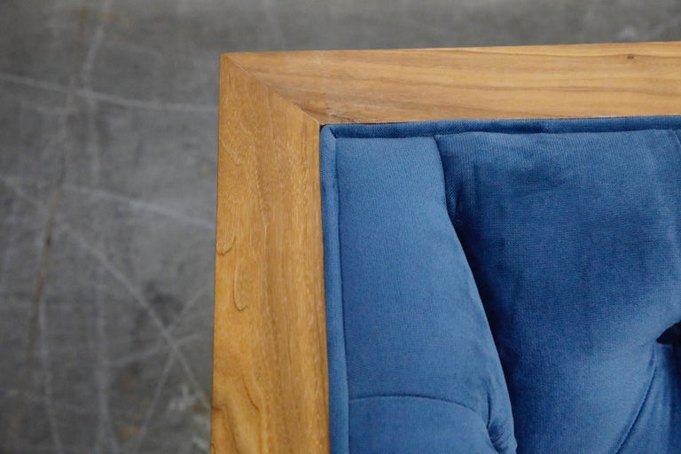 Milo Baughman Styled Custom Wood Case Sofa with Tufted Velvet on Steel Frame  For Sale 5