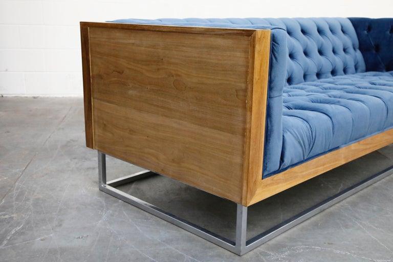 Milo Baughman Styled Custom Wood Case Sofa with Tufted Velvet on Steel Frame  For Sale 6
