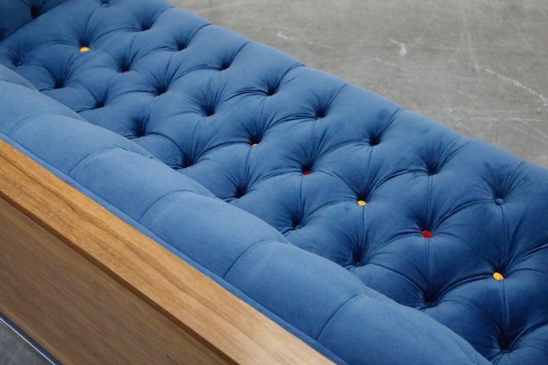 Milo Baughman Styled Custom Wood Case Sofa with Tufted Velvet on Steel Frame  For Sale 7