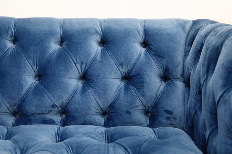 Milo Baughman Styled Case Sofa with Tufted Velvet on Steel Frame, Two Available For Sale 8