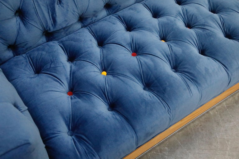 Milo Baughman Styled Custom Wood Case Sofa with Tufted Velvet on Steel Frame  For Sale 9
