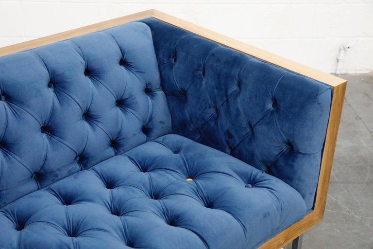 Milo Baughman Styled Custom Wood Case Sofa with Tufted Velvet on Steel Frame  For Sale 10