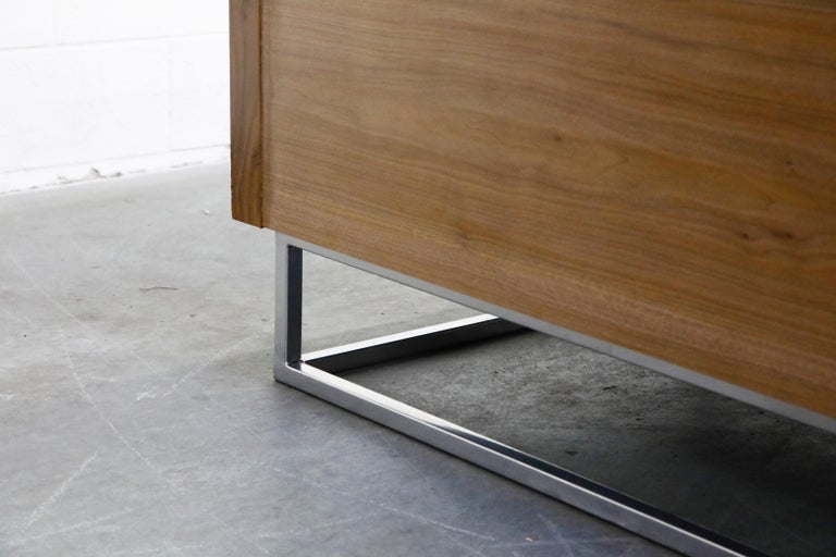 Milo Baughman Styled Custom Wood Case Sofa with Tufted Velvet on Steel Frame  For Sale 11
