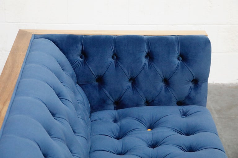 Milo Baughman Styled Case Sofa with Tufted Velvet on Steel Frame, Two Available For Sale 12