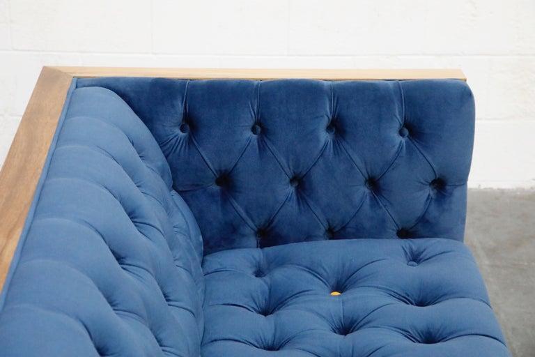 Milo Baughman Styled Custom Wood Case Sofa with Tufted Velvet on Steel Frame  For Sale 12