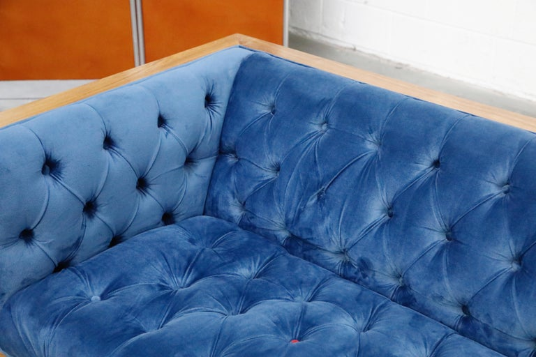 Milo Baughman Styled Custom Wood Case Sofa with Tufted Velvet on Steel Frame  For Sale 13