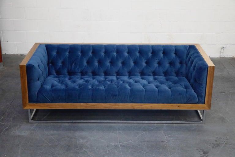 Mid-Century Modern Milo Baughman Styled Custom Wood Case Sofa with Tufted Velvet on Steel Frame  For Sale