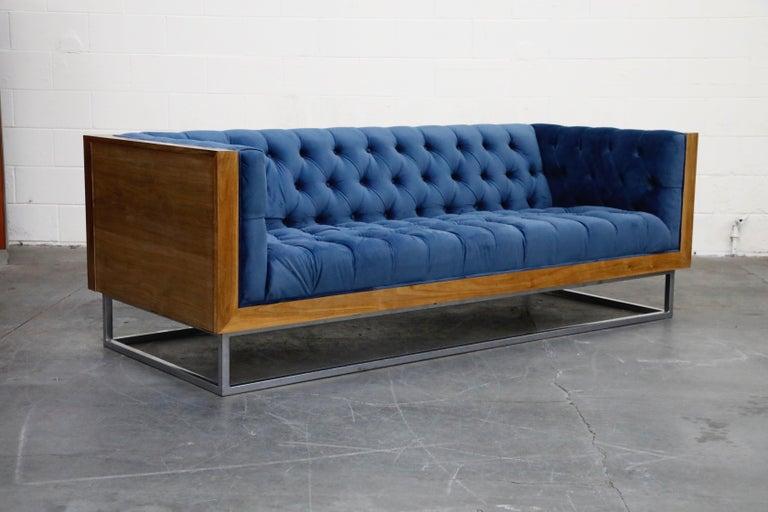 American Milo Baughman Styled Custom Wood Case Sofa with Tufted Velvet on Steel Frame  For Sale