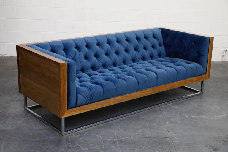 Milo Baughman Styled Case Sofa with Tufted Velvet on Steel Frame, Two Available In Good Condition For Sale In Los Angeles, CA