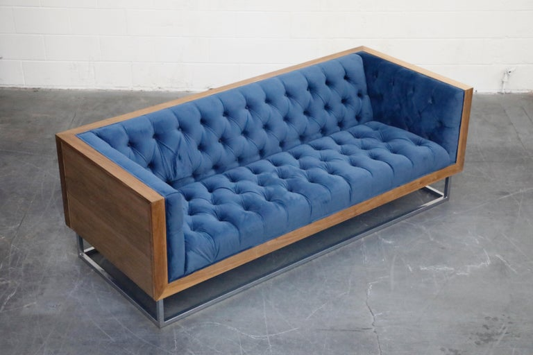 Contemporary Milo Baughman Styled Custom Wood Case Sofa with Tufted Velvet on Steel Frame  For Sale