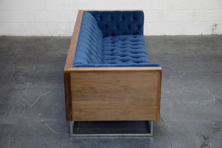 Milo Baughman Styled Custom Wood Case Sofa with Tufted Velvet on Steel Frame  For Sale 1