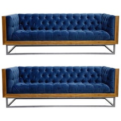 Milo Baughman Styled Custom Wood Case Sofa with Tufted Velvet on Steel Frame