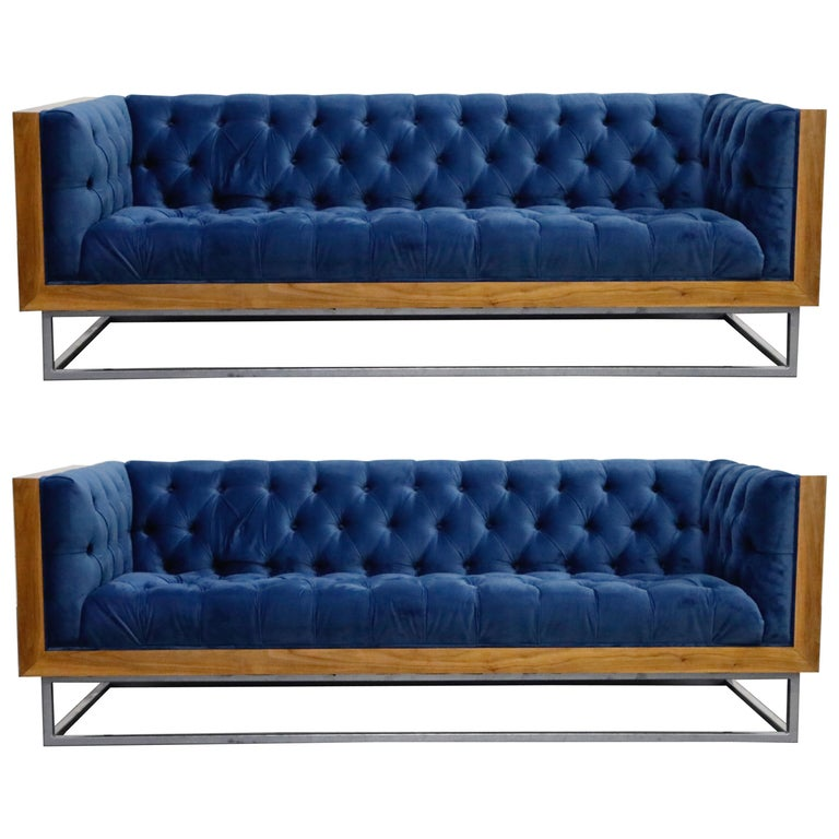 Milo Baughman Styled Custom Wood Case Sofa with Tufted Velvet on Steel Frame  For Sale