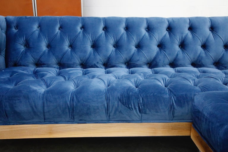 Milo Baughman Styled Sectional Case Sofa with Tufted Velvet on Steel Frame For Sale 4