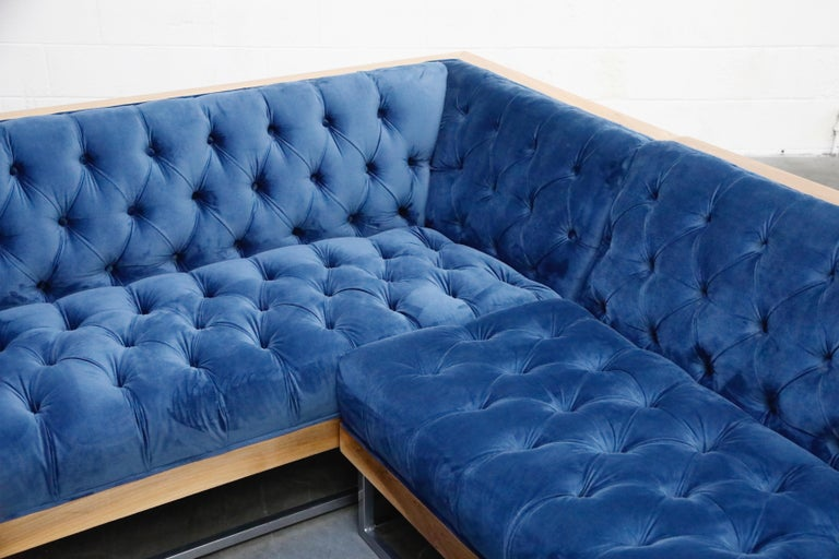 Milo Baughman Styled Sectional Case Sofa with Tufted Velvet on Steel Frame For Sale 5