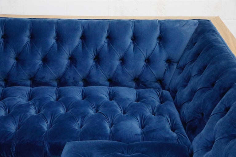 Milo Baughman Styled Sectional Case Sofa with Tufted Velvet on Steel Frame For Sale 9