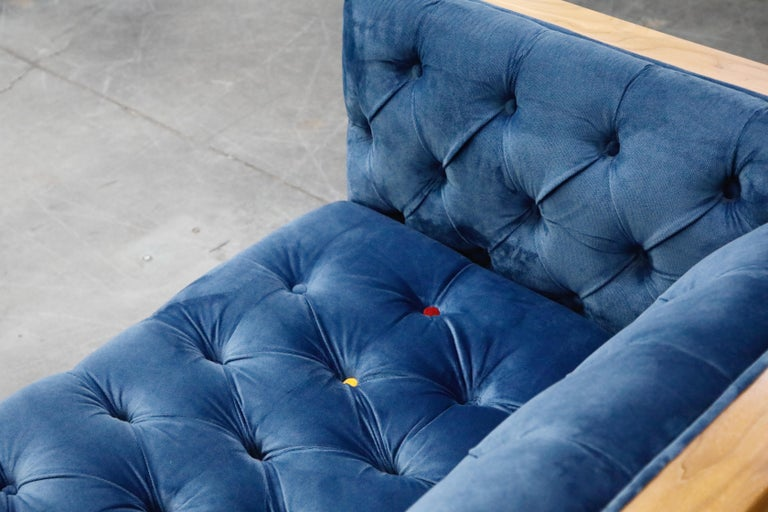 Milo Baughman Styled Sectional Case Sofa with Tufted Velvet on Steel Frame For Sale 11