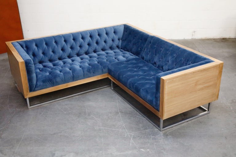 Mid-Century Modern Milo Baughman Styled Sectional Case Sofa with Tufted Velvet on Steel Frame For Sale