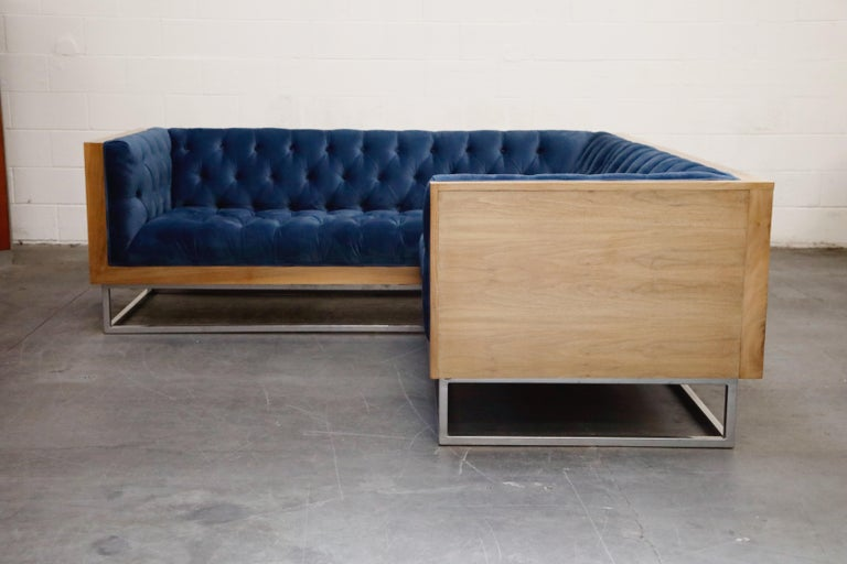 American Milo Baughman Styled Sectional Case Sofa with Tufted Velvet on Steel Frame For Sale