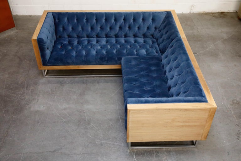 Contemporary Milo Baughman Styled Sectional Case Sofa with Tufted Velvet on Steel Frame For Sale