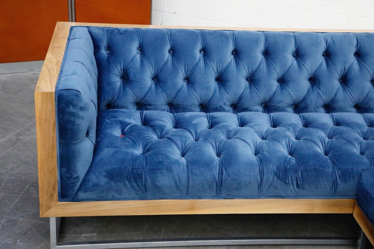 Milo Baughman Styled Sectional Case Sofa with Tufted Velvet on Steel Frame For Sale 3