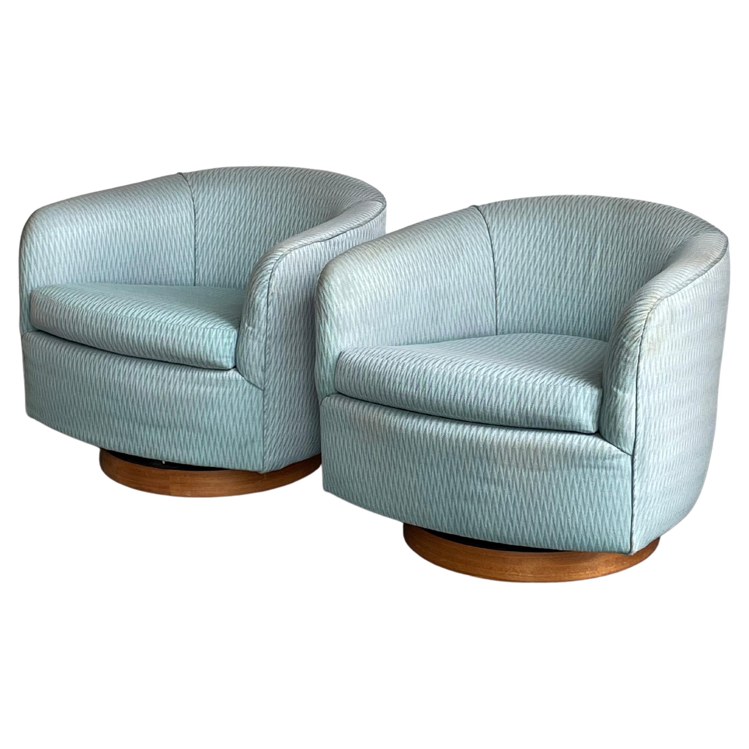 Milo Baughman Swivel and Tilt Club Chairs