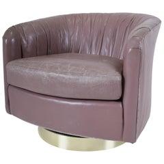 Milo Baughman Swivel Chair on Brass Base