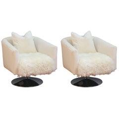 Milo Baughman Swivel Chairs in Soft White