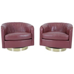 Milo Baughman Swivel Chairs on Brass Bases