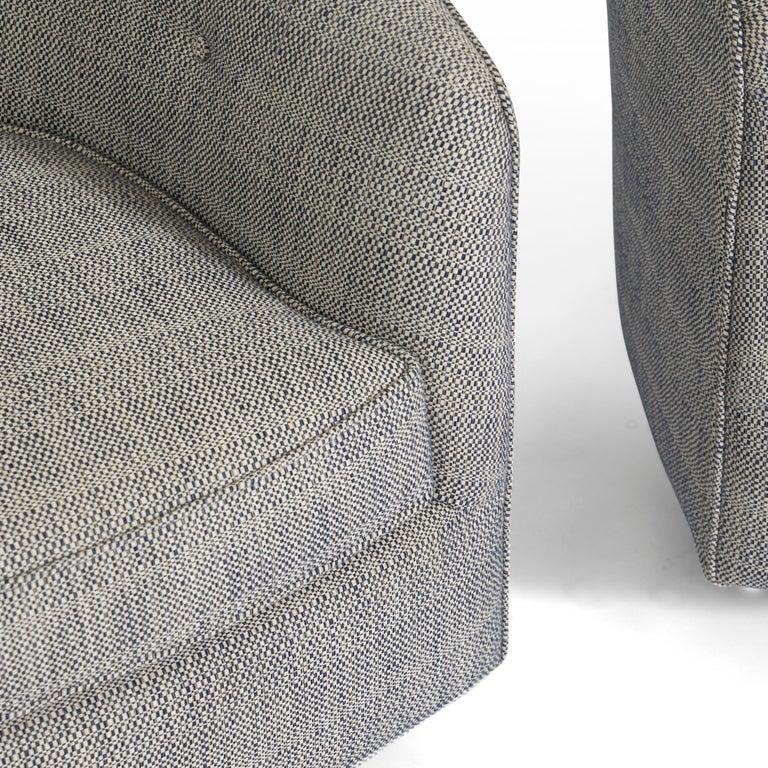 Mid-Century Modern Milo Baughman Swivel Chairs on Bronze Bases