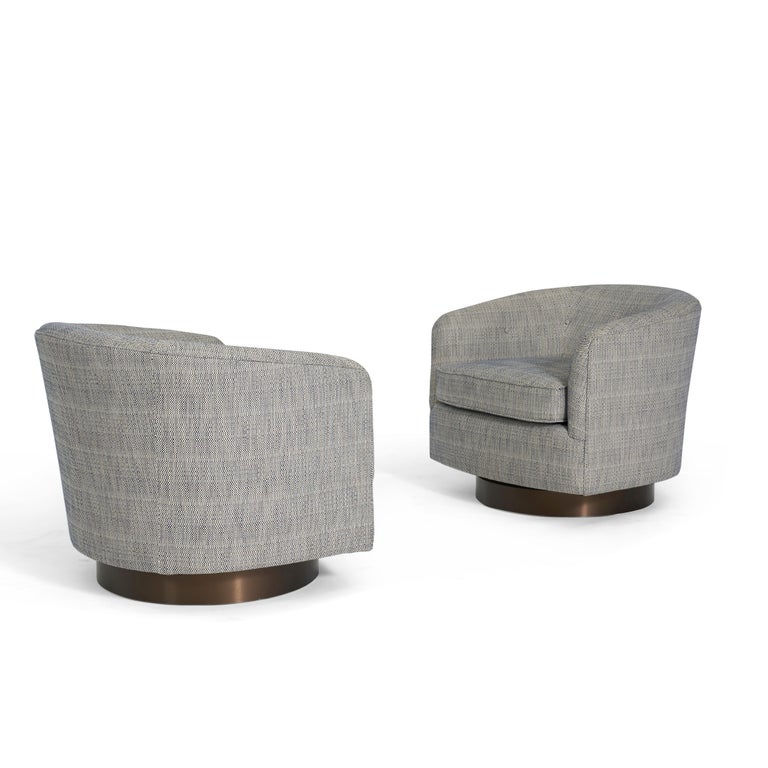 Milo Baughman Swivel Chairs on Bronze Bases In Excellent Condition In Chicago, IL