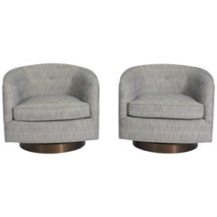 Milo Baughman Swivel Chairs on Bronze Bases
