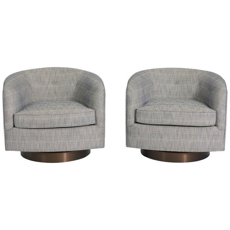 Milo Baughman Swivel Chairs on Bronze Bases