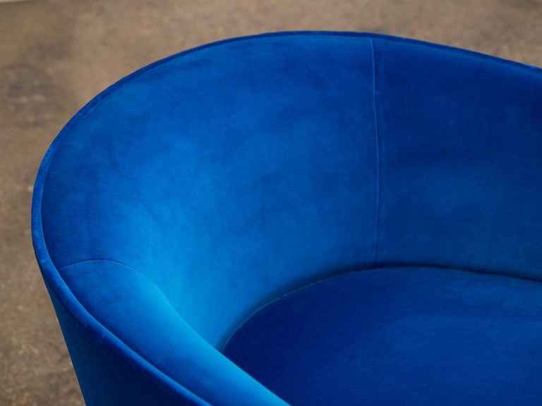 Velvet Milo Baughman Swivel Lounge Chairs For Sale