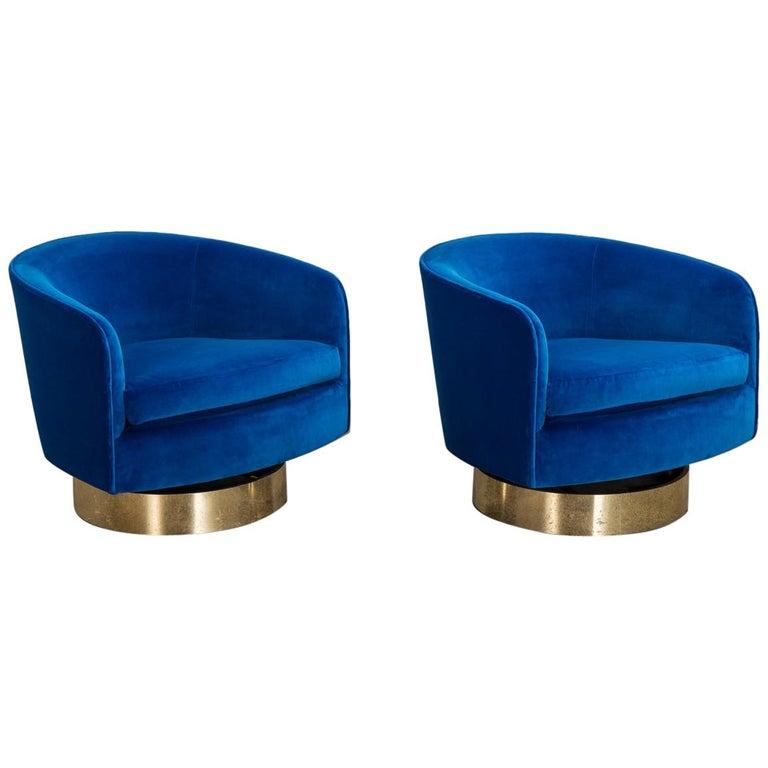 Milo Baughman Swivel Lounge Chairs For Sale
