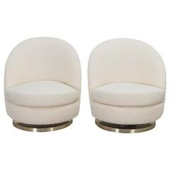 Milo Baughman Swivel Lounge Chairs in Boucle