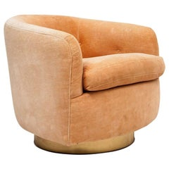 Milo Baughman Swivel Tub Arm Chair in COM