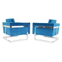 Milo Baughman T-Back Cube Chairs in Holly Hunt Teal Blue Great Outdoors