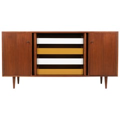 Milo Baughman Tambour-Door Credenza with Colored Drawers for Glenn of California