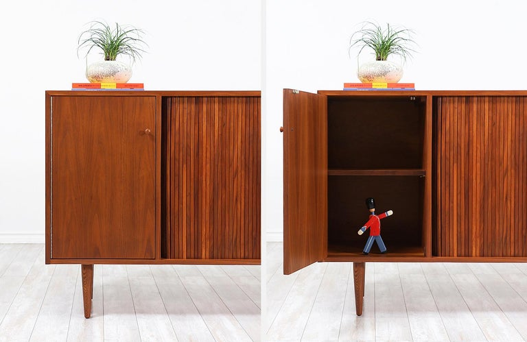 Milo Baughman Tambour-Door Credenza with Lacquered Drawers for Glenn of Cal. For Sale 7
