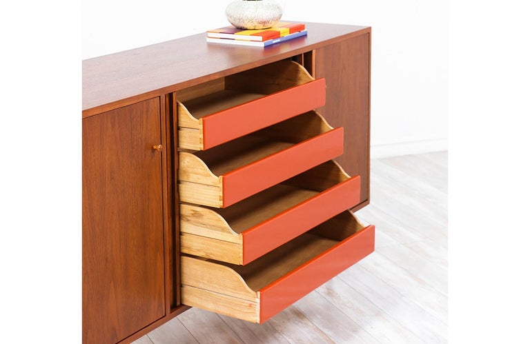 Milo Baughman Tambour-Door Credenza with Lacquered Drawers for Glenn of Cal. For Sale 8