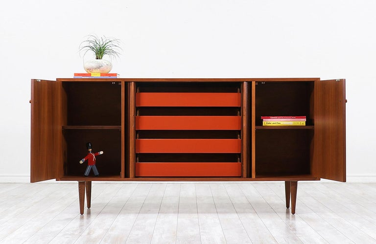 American Milo Baughman Tambour-Door Credenza with Lacquered Drawers for Glenn of Cal. For Sale