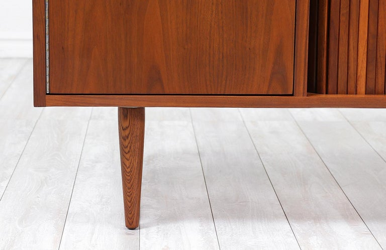 Wood Milo Baughman Tambour-Door Credenza with Lacquered Drawers for Glenn of Cal. For Sale