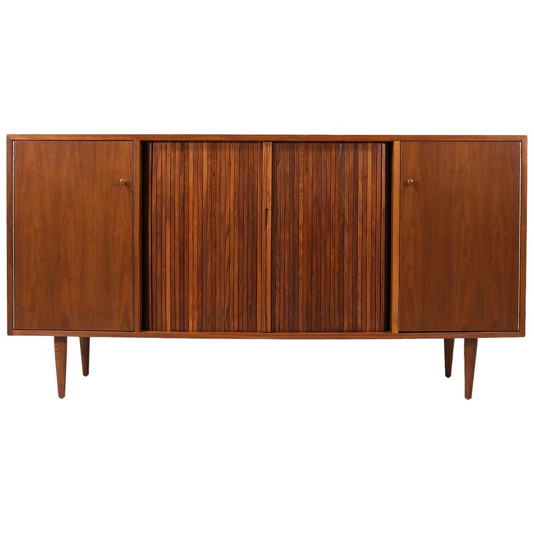 Milo Baughman Tambour-Door Credenza with Lacquered Drawers for Glenn of Cal. For Sale