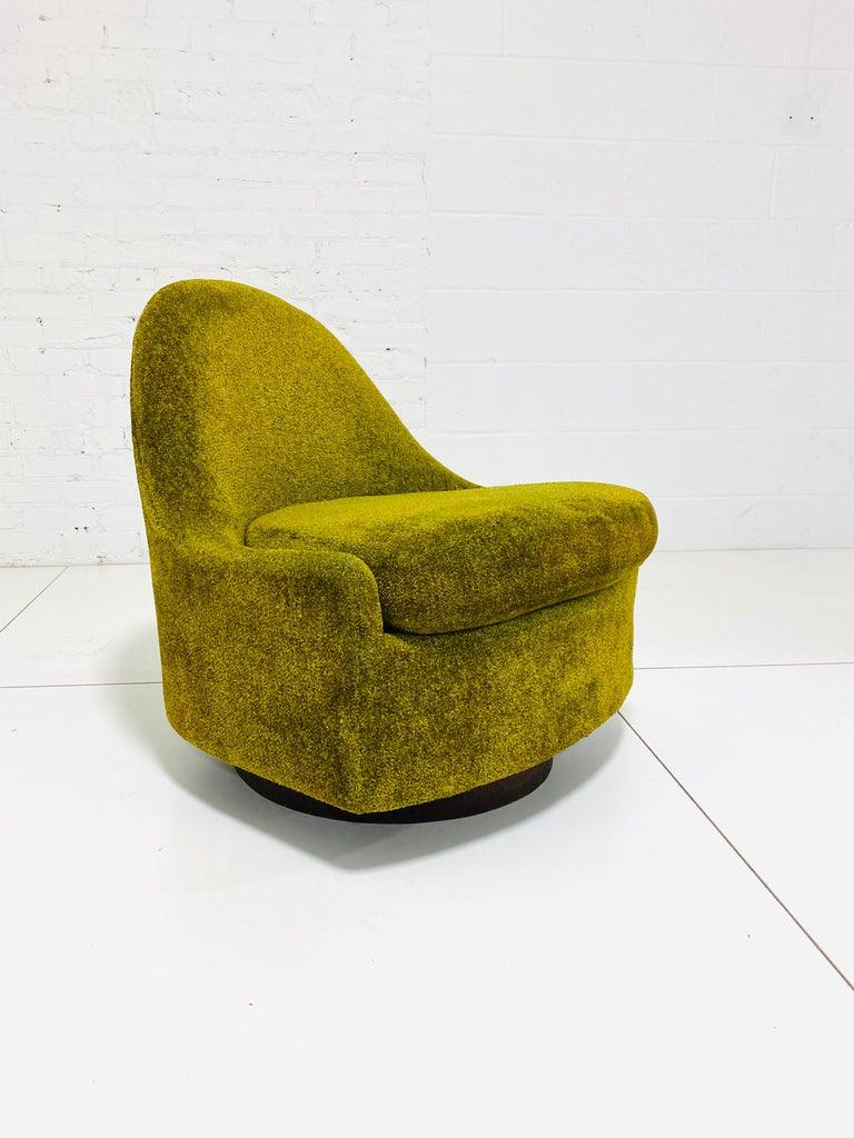 Walnut Milo Baughman Tear Drop Swivel Lounge Chair