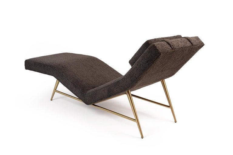 Mid-Century Modern Milo Baughman Thayer Coggin Chaise Lounge in Faux Sheepskin For Sale