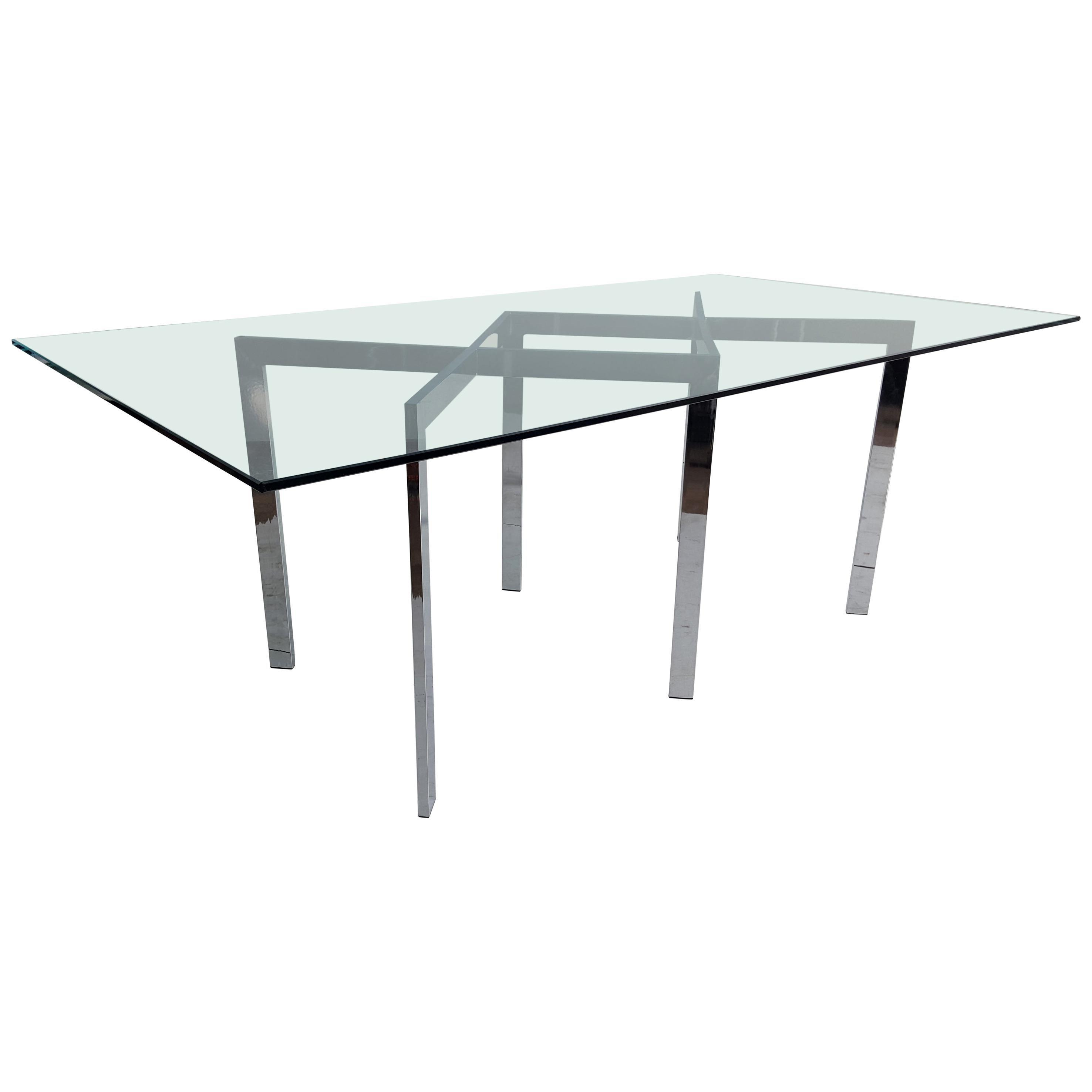 Milo Baughman, Thayer Coggin Chrome X Base and Glass Dining Table